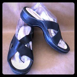GEOX Respira BLACK LEATHER Flip Flop Sandal Slide